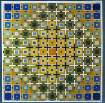 026 - Quadragone in blue and yellow  [60x60]
